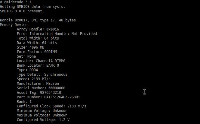 Как узнать тип установленных модулей памяти в Ubuntu